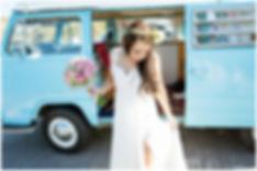 blue classic vintage combi, kombi, wedding car, bohemian bride, flower crown, fine art wedding