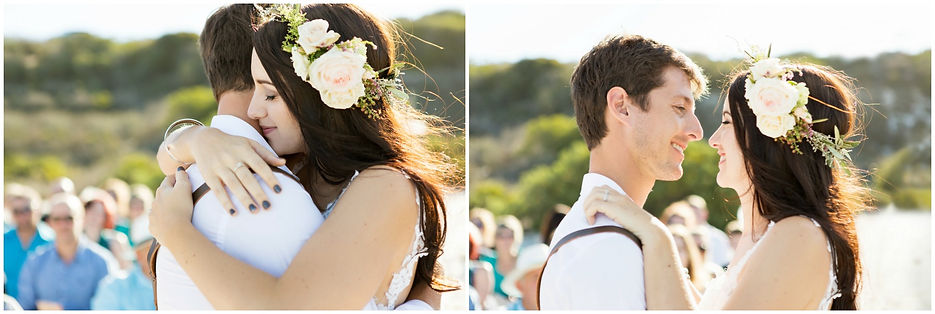 intimate moment between bride and groom during ceremony, boho bride, flowers crown