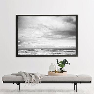 Mesmerized by the Ocean Single Print - Black & White