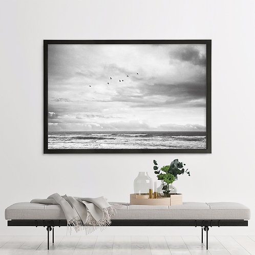Mesmerized by the Ocean Single Print - Black & White