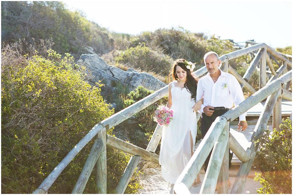 bride and father walking down the isle, beach boho bohemian wedding