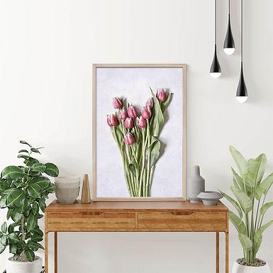 Pink Tulips Wall Art   Single Print 5