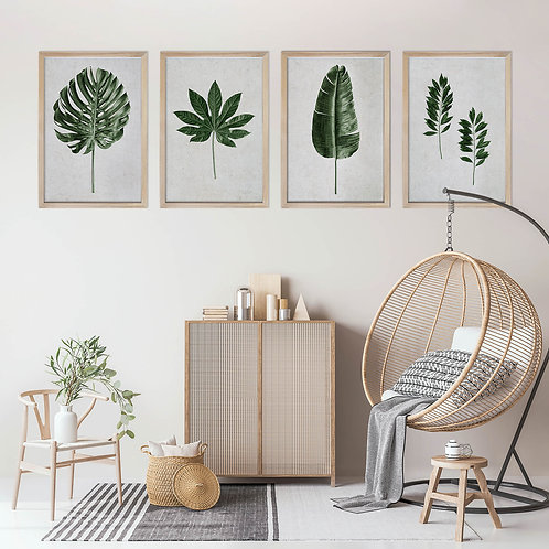 Tropical Leaves Wall Art Print Set | Collection 12