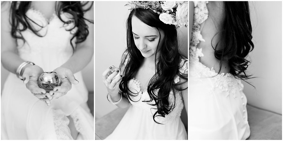 bride getting ready, perfume, detail shots, loose curls, open back wedding dress, bohemian, rene h couture