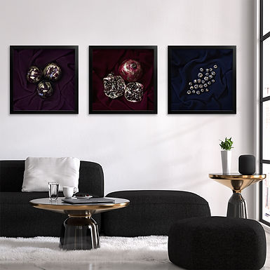 Gold Flecked Fruit Print Set   Collection 1