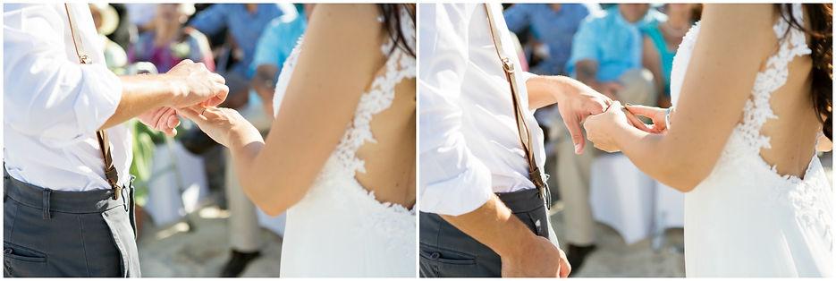 bride and groom exchanging rings, beach wedding