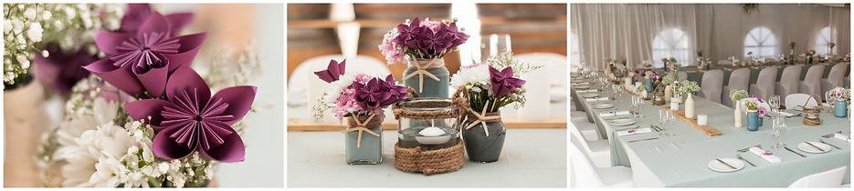 grey and purple wedding decor, paper flowers, diy, west coast national park, langebaan wedding