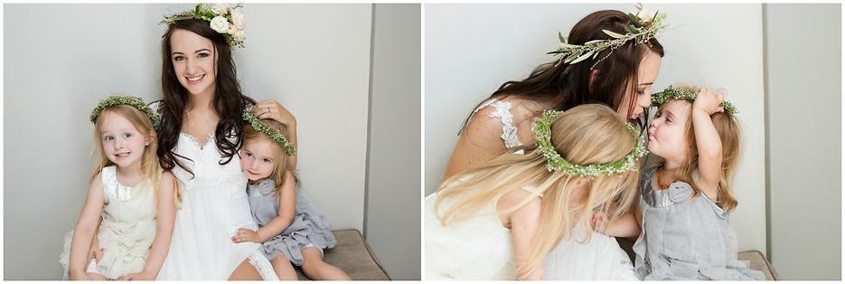 bride and flower girls, flower crowns, baby's breath, roses, gyp