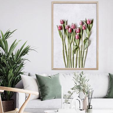 Pink Tulips Wall Art   Single Print 4