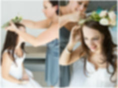 bridesmaid helping bride getting ready, flower crown, rose, loose curls wedding hairstyle