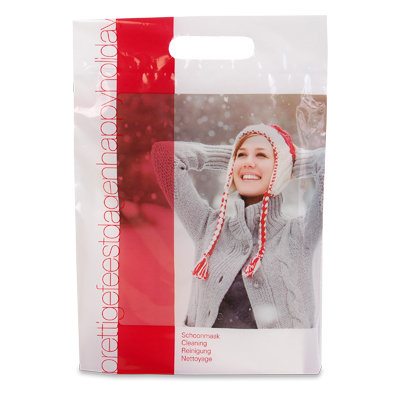 Pochette plastique imprimée avec poignée hiver