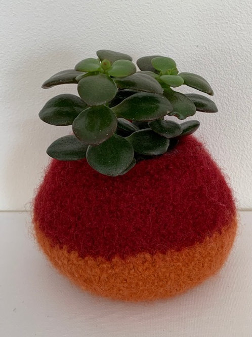 felted pot - red and orange