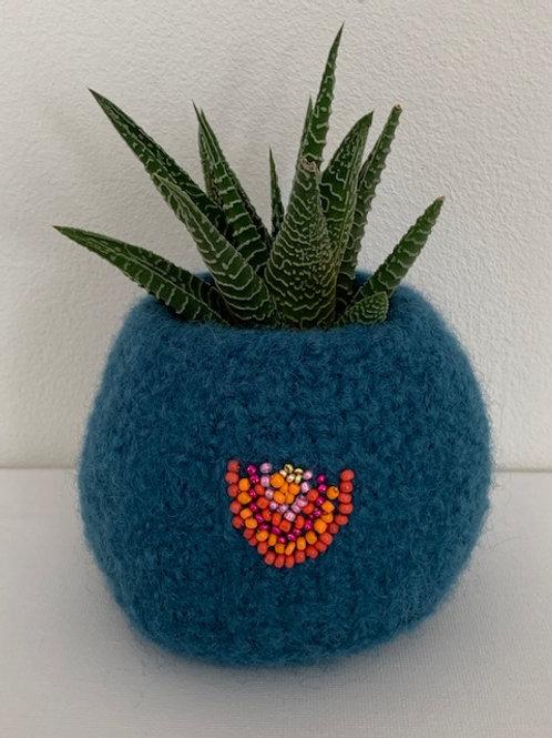 blue beaded felted bowl  - rainbow