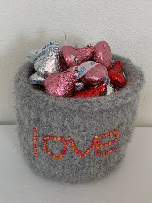 beaded pot with beads - love