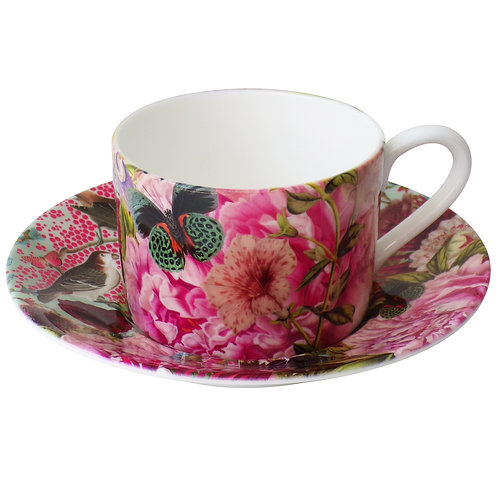 Pink Bird • Coffee Cup and Saucer