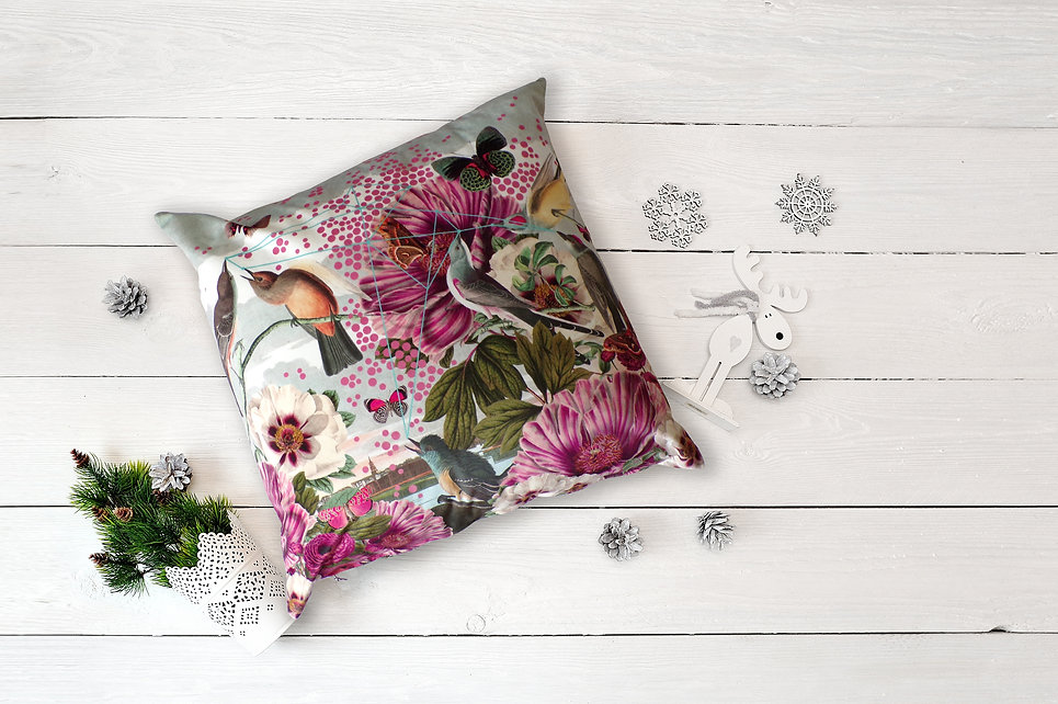 Birds and Butterflies - insitu cushion -
