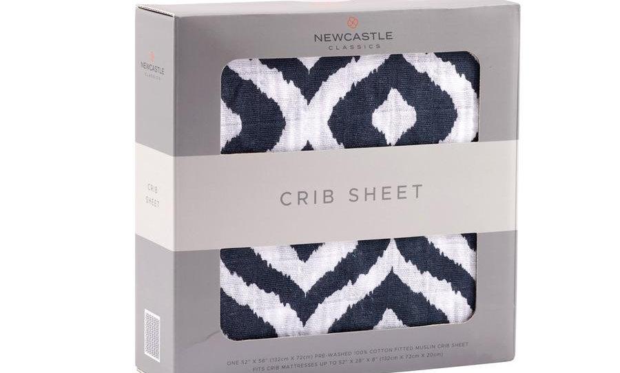 Moroccan Blue Cotton Muslin Crib Sheet