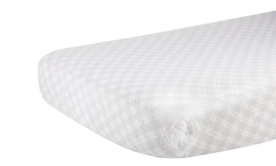 Glacier Grey Plaid Cotton Muslin Crib Sheet