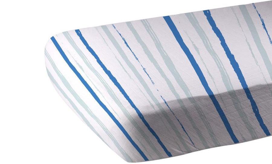 Ocean Stripe Cotton Muslin Crib Sheet