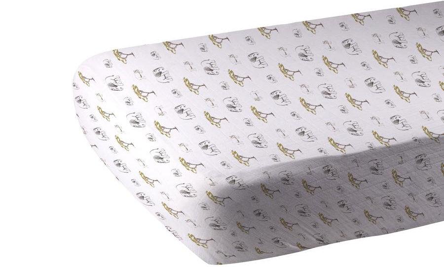 Rhinos and Elephants Bamboo Muslin Crib Sheet