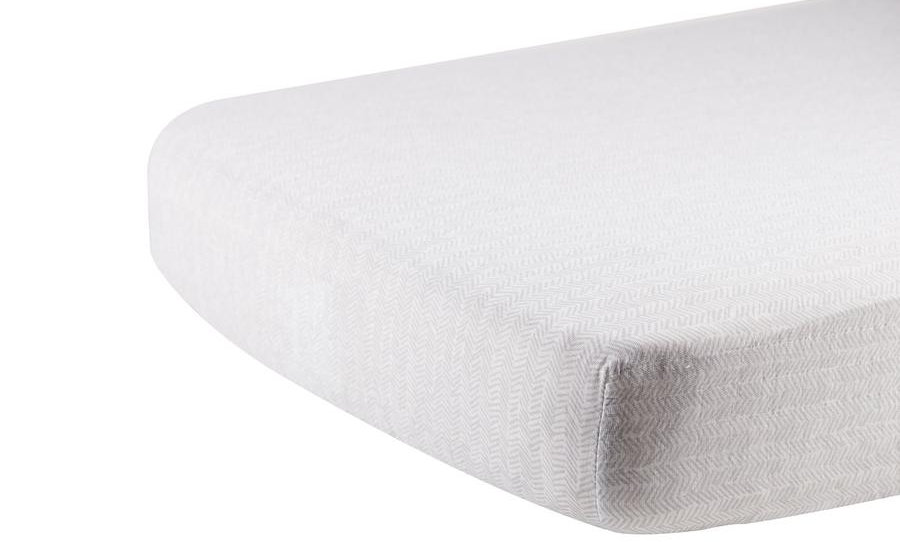 Herringbone Grey Cotton Muslin Crib Sheet