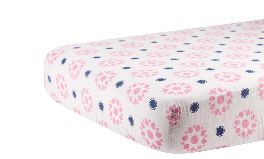 Primrose Indigo Cotton Muslin Crib Sheet