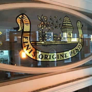 bespoke transom gilded on glass