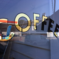 Coffee Gold Lettering on window
