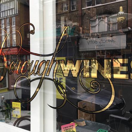 borough wines window gilding