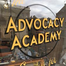 Advocacy Academy Window Sign