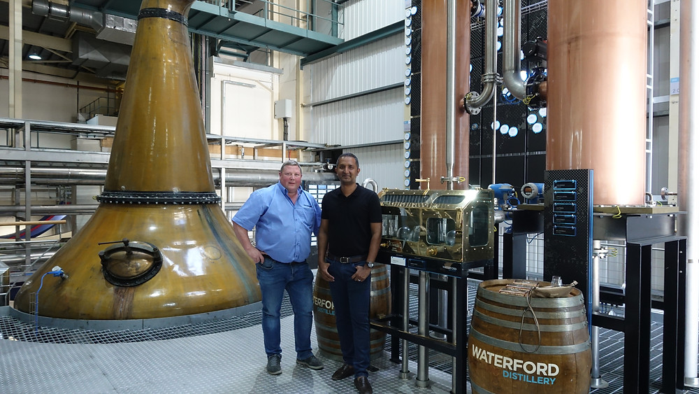 Uday Balaji, The Whisky Advisor with Ned Gahan, Head Distiller at Waterford Distillery in Waterford, ireland