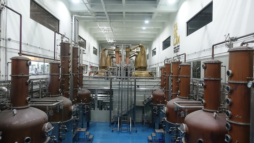 Kavalan Distillery Still house with Forsyth and Holstein Whisky and Gin Stills