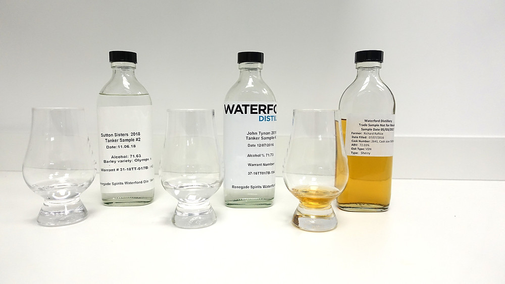 Tasting samples of new make and aging whiskey at Waterford Distillery; Uday Balaji, The Whisky Advisor