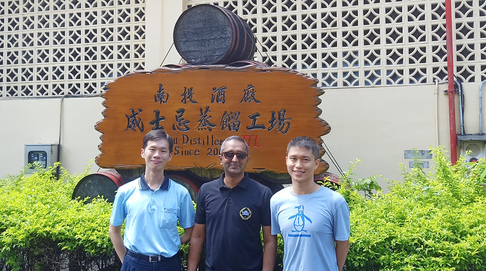 The Whisky Advisor Uday Balaji at Nantou distillery with Mr. Yu and Mr. Chung