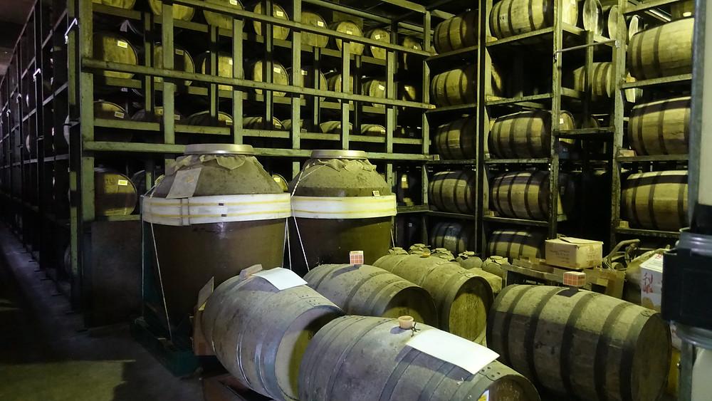 Ceramic jars aging malt wine at Nantou Distillery