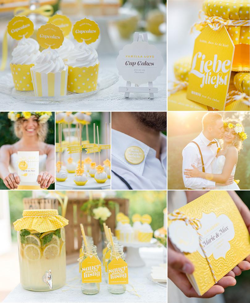 Heiraten in gelb – Cupcakes mit Namenskärtchen, Honig als Gastgeschenk, Save-The-Date-Karte mit Illustrationen und Buttons für die Trauzeugen