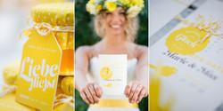 Gelbe Hochzeitseinladung