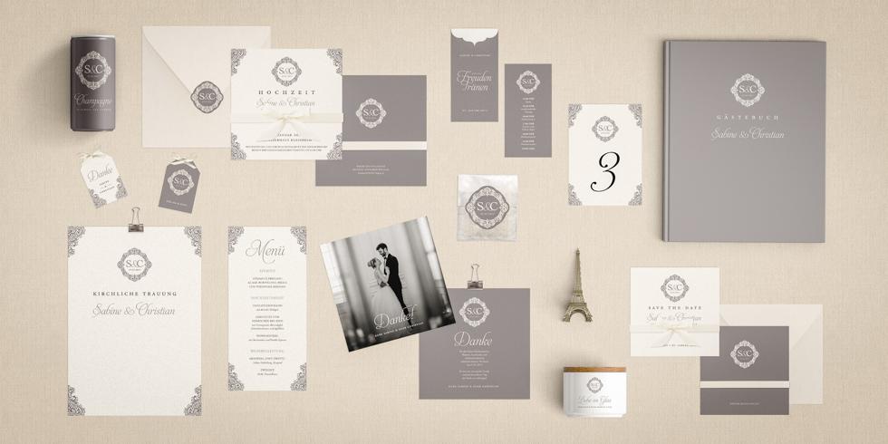 Klassische Hochzeitseinladung Silber