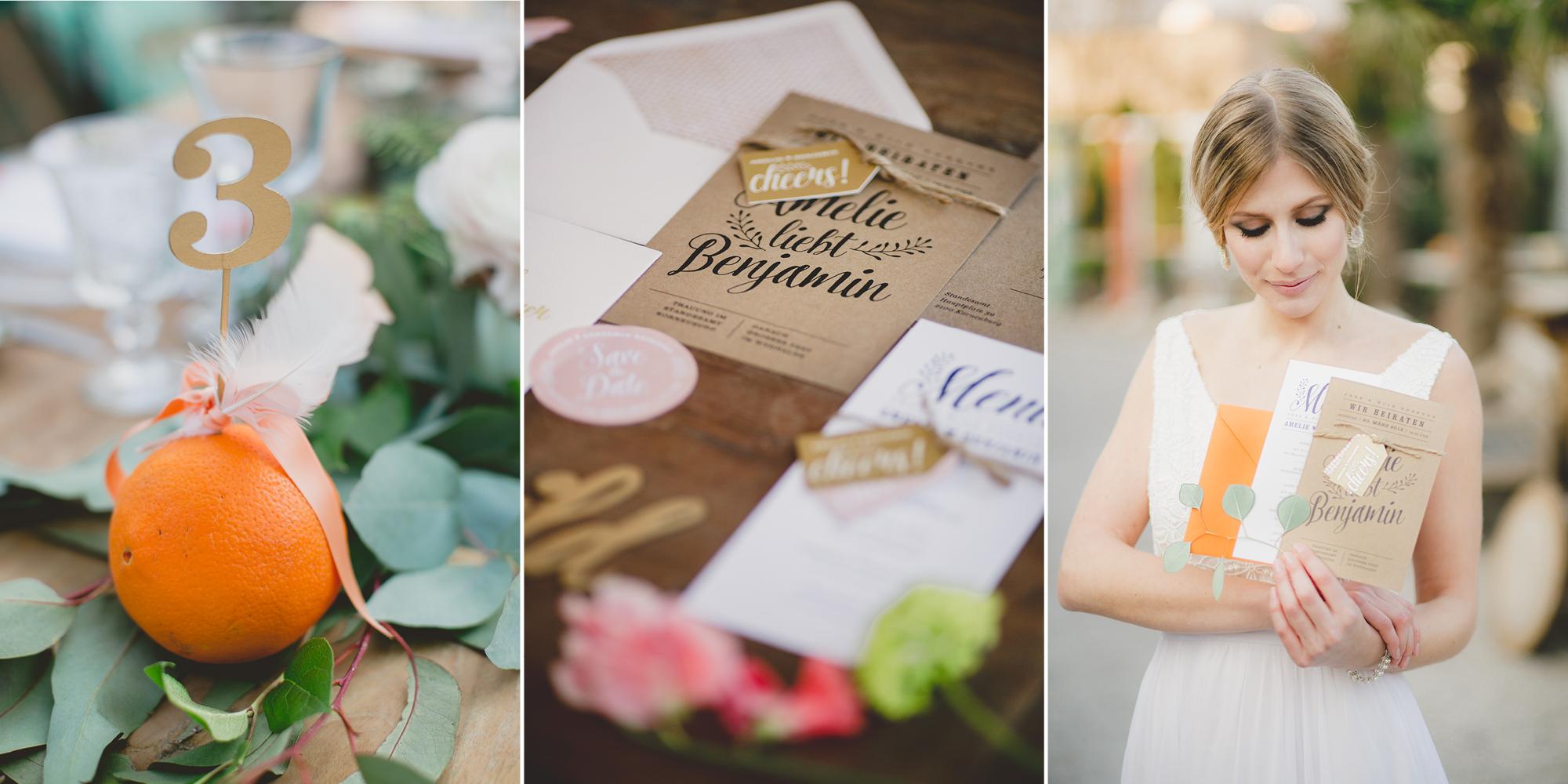 Hochzeitseinladung aus Kraftpapier