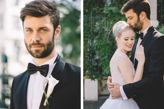 Braut und Bräutigam im Cinderella-Look