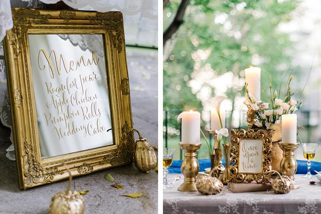 Das Hochzeits-Menü in einem gold gerahmten Spiegel