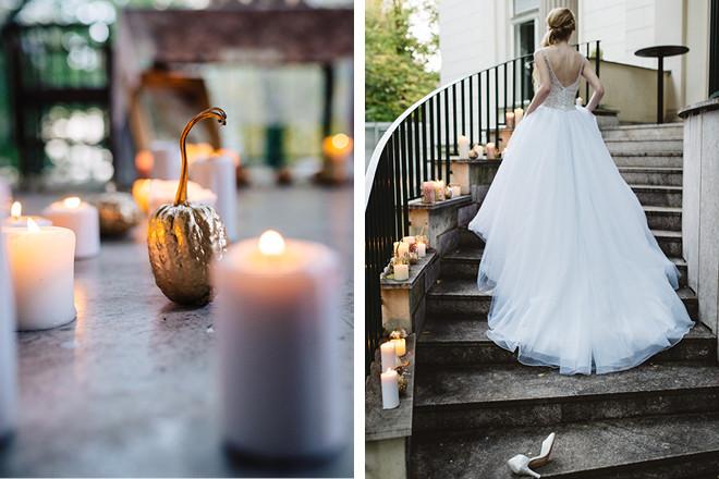 Goldener Kürbis zur Dekoration für das Cinderella-Hochzeitsmotto