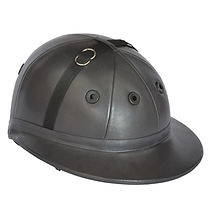 Edition polo helmet, dark grey leather