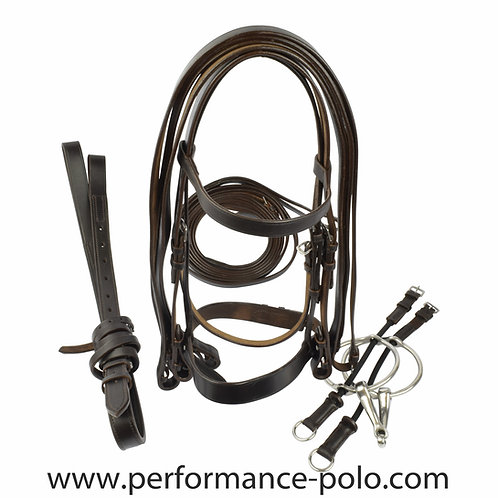 Complete Ainsley Polo bridle with ring gag and running reins