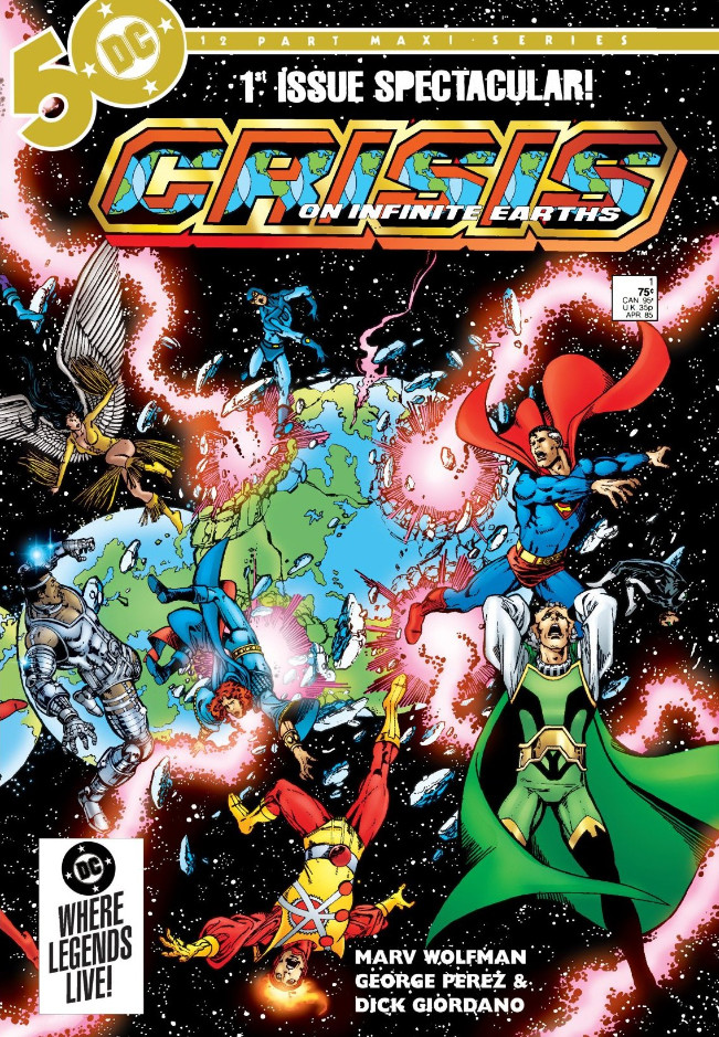 Crisis on Infinite Earths, issue #1, cover, DC Comics, George Pérez