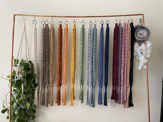Two macrame plant hangers
