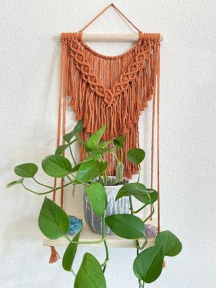 Copper macrame shelf