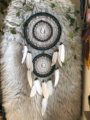 Double ring clear quartz dreamcatcher