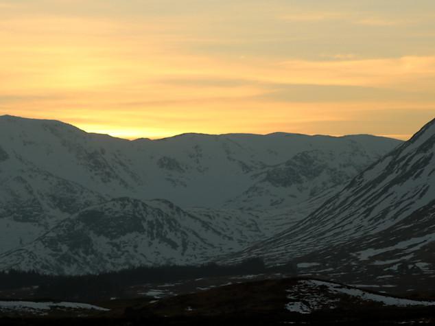Sunset beyond the Black Mount