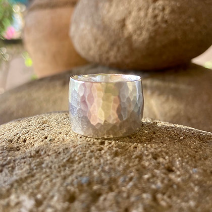 BOLD WIDE BAND SILVER RING